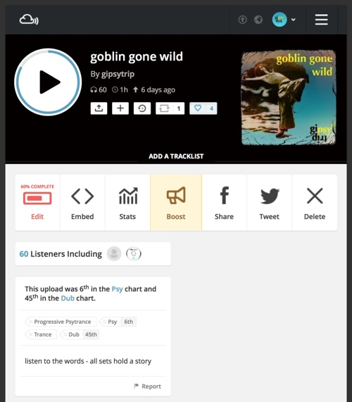 goblin gone wild reached top 20 on mixcloud